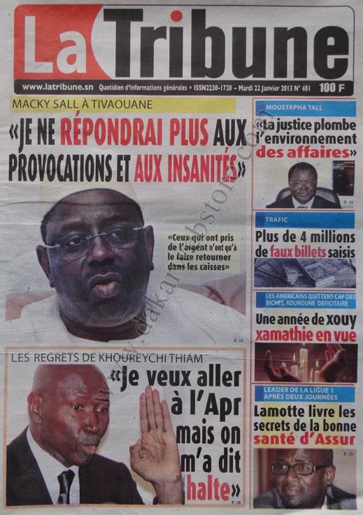 A la Une du Journal La Tribune du mardi 22 janvier 2013