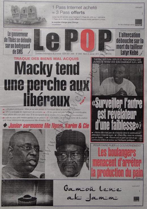 A la Une du Journal Le Populaire du mardi 22 janvier 2013