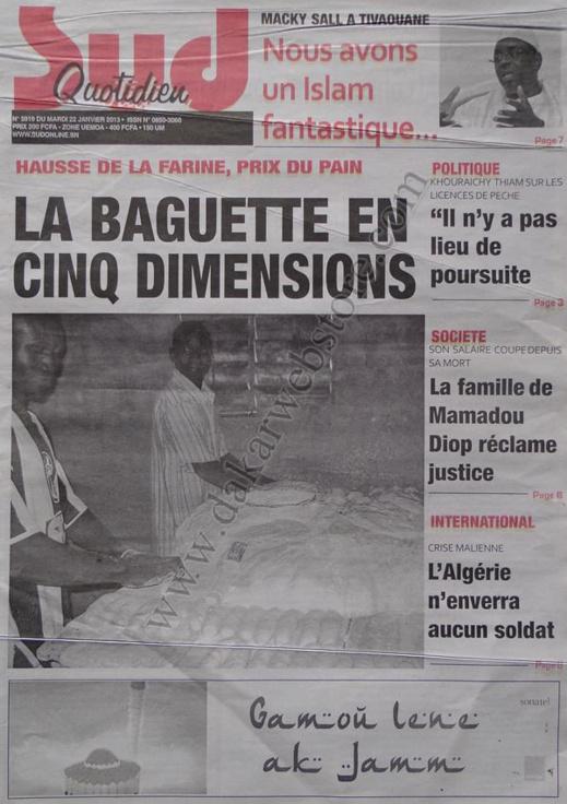 A la Une du Journal Sud Quotidien du mardi 22 janvier 2013