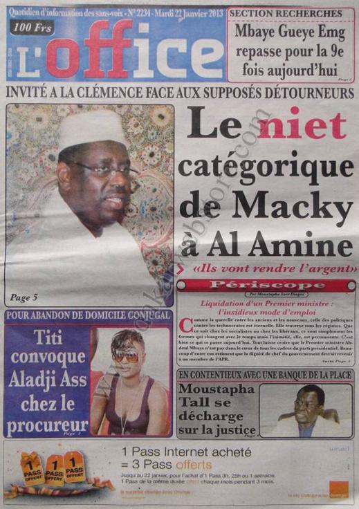 A la Une du Journal Walfdjri du mardi 22 janvier 2013