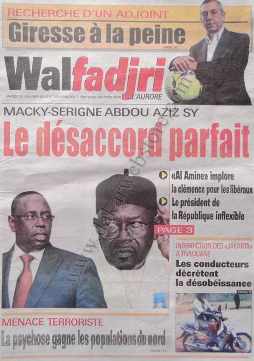 A la Une du Journal L'Office du mardi 22 janvier 2013