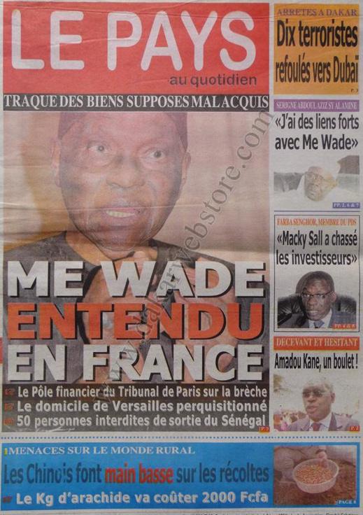 A la Une du Journal Le Pays du mardi 22 janvier 2013