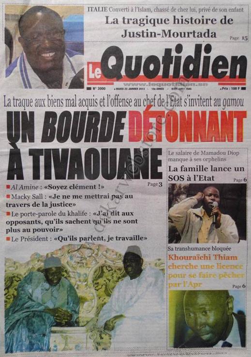A la Une du Journal Le Quotidien du mardi 22 janvier 2013