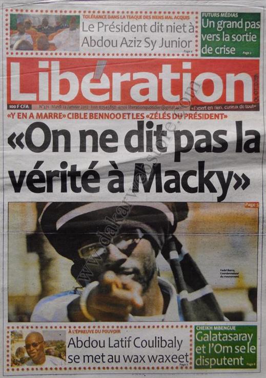 A la Une du Journal Libération du mardi 22 janvier 2013