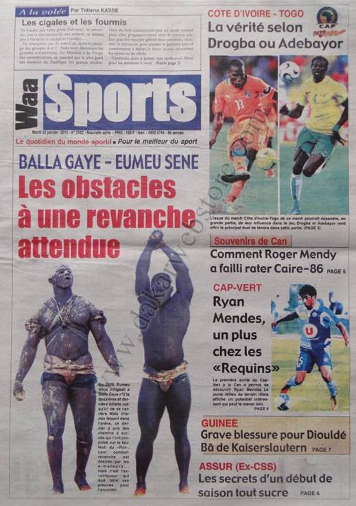 A la Une du Journal Waa Sports du mardi 22 janvier 2013