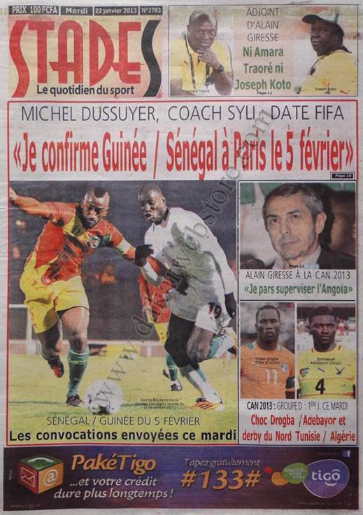 A la Une du Journal Stades du mardi 22 janvier 2013