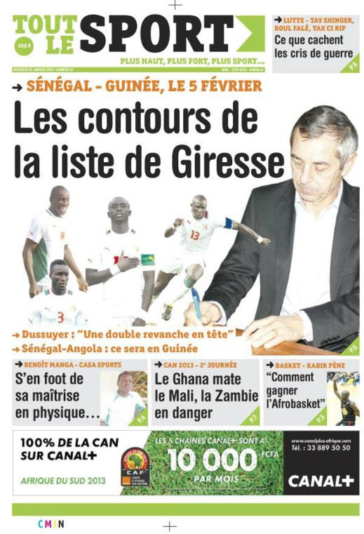 A la Une du Journal Tout Le Sport du vendredi 25 janvier 2013