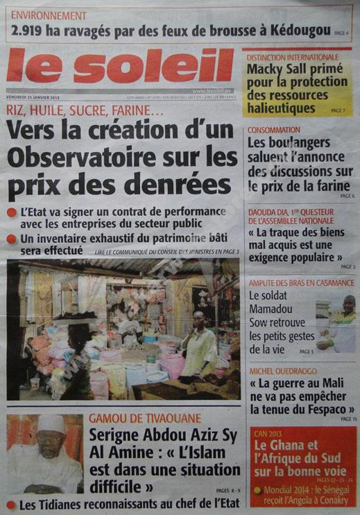A la Une du Journal Le Soleil du vendredi 25 janvier 2013