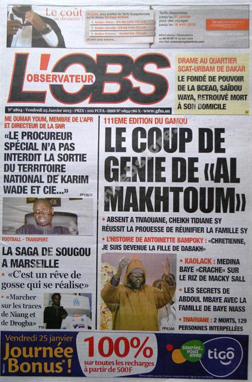 A la Une du Journal L'Observateur du vendredi 25 janvier 2013