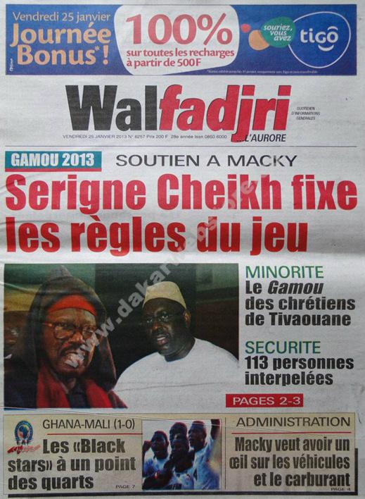 A la Une du Journal Walfadjri du vendredi 25 janvier 2013