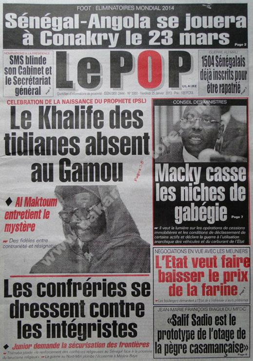 A la Une du Journal Le Populaire du vendredi 25 janvier 2013