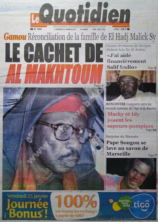 A la Une du Journal Le Quotidien du vendredi 25 janvier 2013