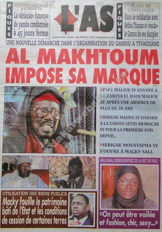 A la Une du Journal L'As du vendredi 25 janvier 2013