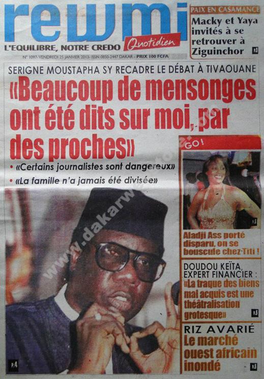 A la Une du Journal Rewmi du vendredi 25 janvier 2013