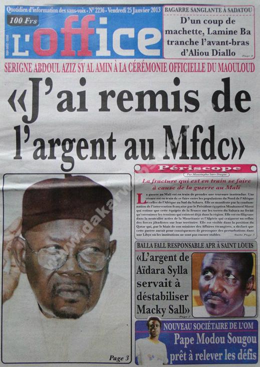 A la Une du Journal L'Office du vendredi 25 janvier 2013