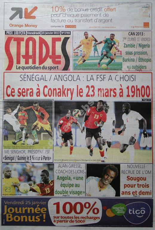 A la Une du Journal Stades du vendredi 25 janvier 2013