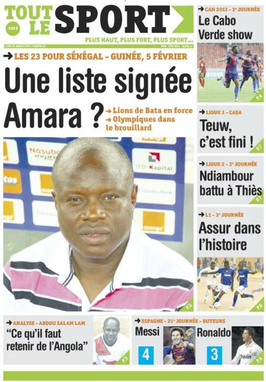 A la Une du Journal Tout Le Sport du lundi 28 janvier 2013