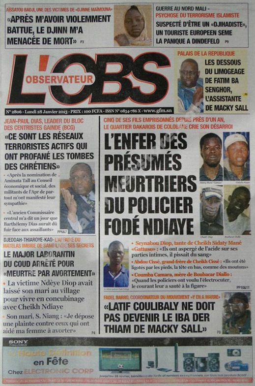 A la Une du Journal L'Observateur  du lundi 28 janvier 2013