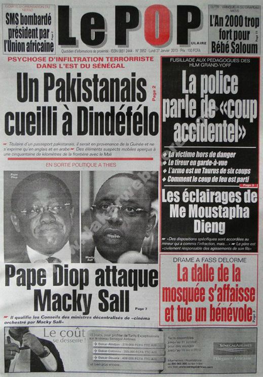 A la Une du Journal Le Populaire du lundi 28 janvier 2013