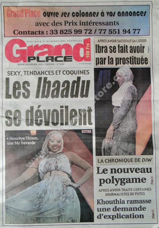 A la Une du Journal Grand Place du lundi 28 janvier 2013
