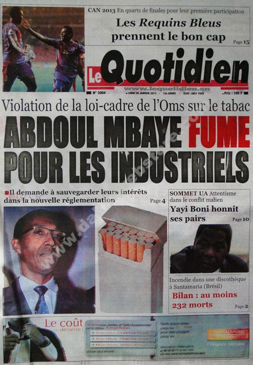 A la Une du Journal Le Quotidien  du lundi 28 janvier 2013