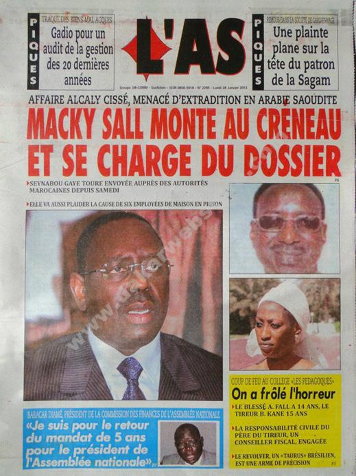 A la Une du Journal L'As du lundi 28 janvier 2013