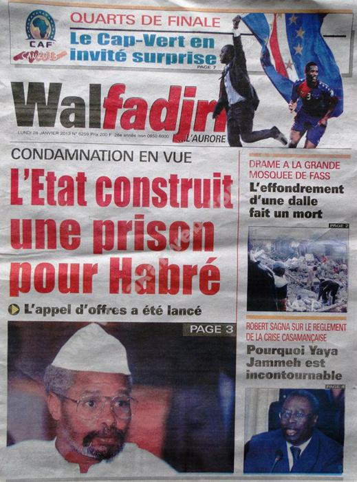 A la Une du Journal Walfadjri du lundi 28 janvier 2013