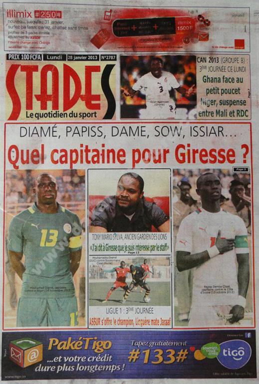 A la Une du Journal Stades du lundi 28 janvier 2013