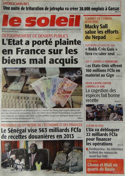 A la Une du Journal Le Soleil du mardi 29 janvier 2013
