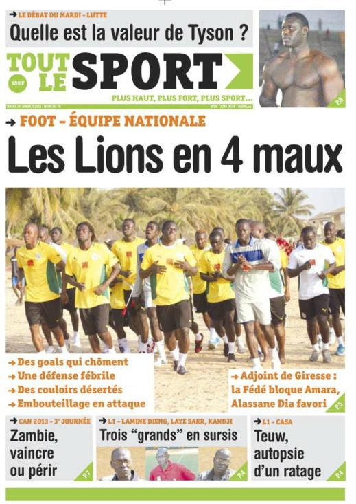 A la Une du Journal Tout Le Sport du mardi 29 janvier 2013