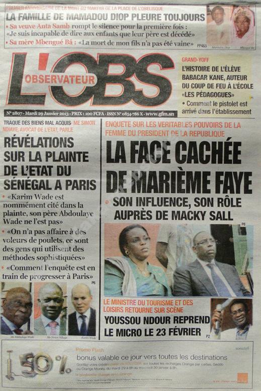 A la Une du Journal L'Observateur du mardi 29 janvier 2013