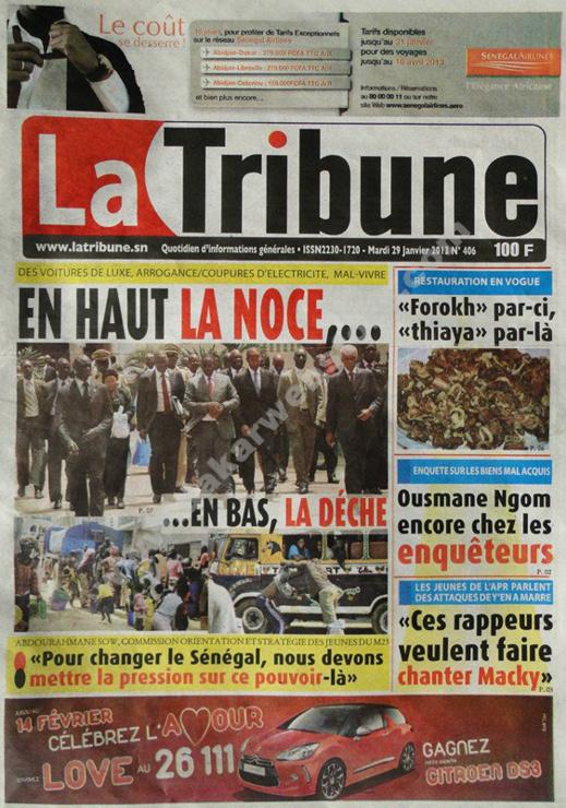 A la Une du Journal La Tribune du mardi 29 janvier 2013