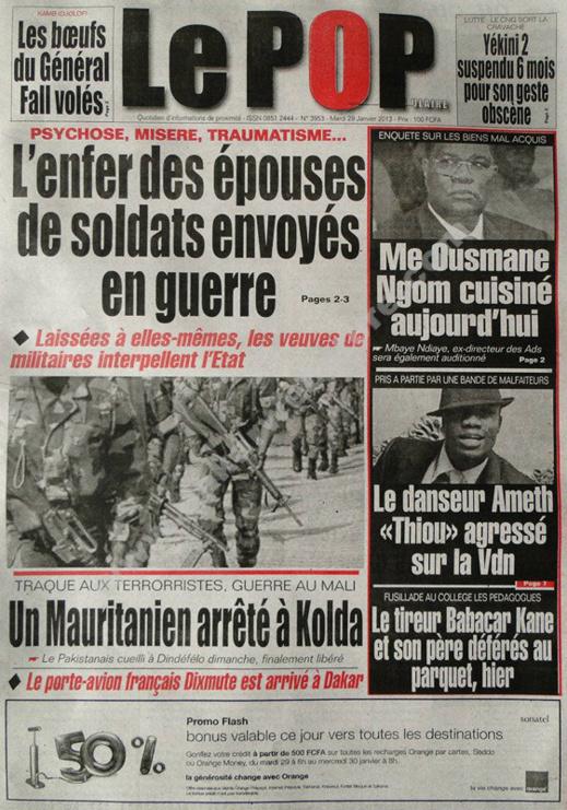 A la Une du Journal Le Populaire du mardi 29 janvier 2013