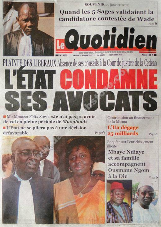 A la Une du Journal Le Quotidien du mardi 29 janvier 2013