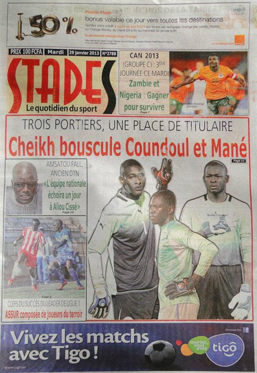 A la Une du Journal Stades du mardi 29 janvier 2013