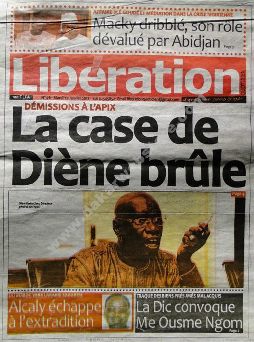 A la Une du Journal Libération du mardi 29 janvier 2013