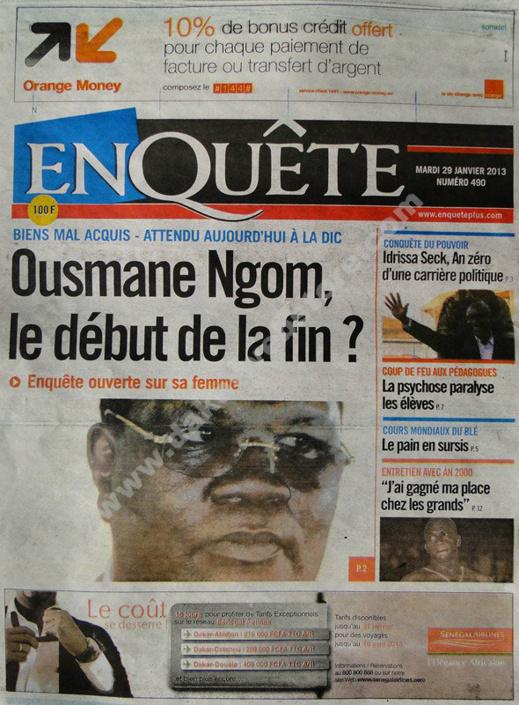 A la Une du Journal EnQuête du mardi 29 janvier 2013