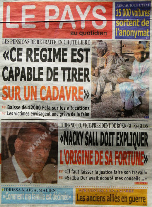 A la Une du Journal Le Pays du mardi 29 janvier 2013