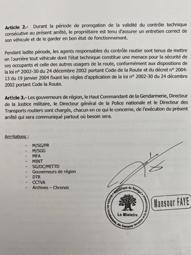 (Document) / Les durées de validité du contrôle technique des véhicules prorogées jusqu'au 31 décembre, mais...