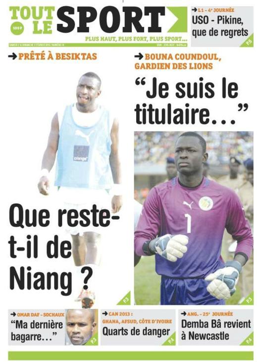 A la Une du Journal Tout Le Sports du Samedi 02 février 2013