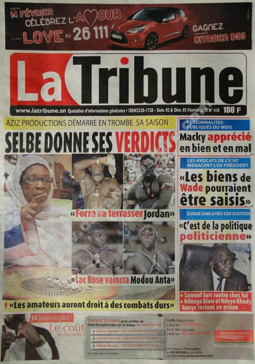 A la Une du Journal La Tribune du Samedi 02 février 2013