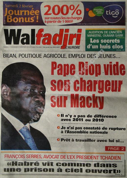 A la Une du Journal Walfadjri du Samedi 02 février 2013