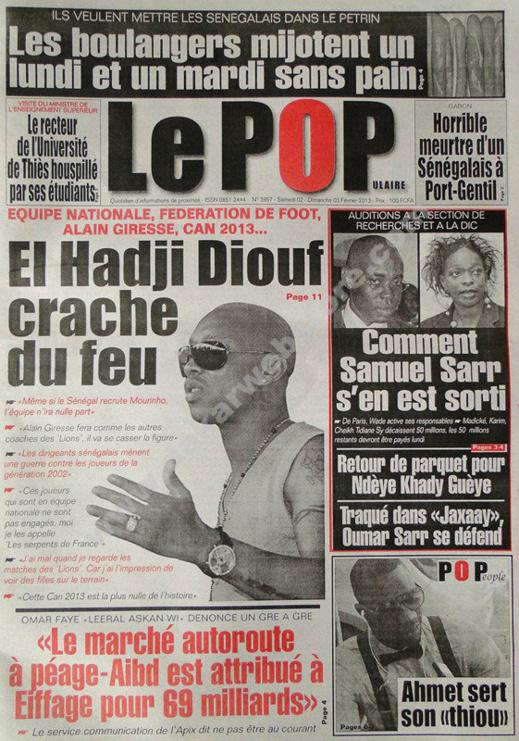 A la Une du Journal Le Populaire du Samedi 02 février 2013