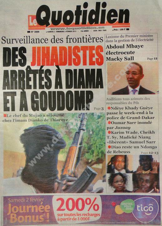 A la Une du Journal Le Quotidien du Samedi 02 février 2013