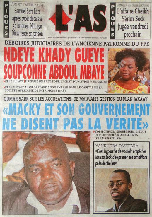 A la Une du Journal L'As du Samedi 02 février 2013