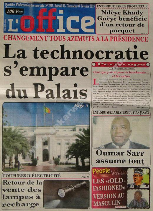 A la Une du Journal L'Office du Samedi 02 février 2013