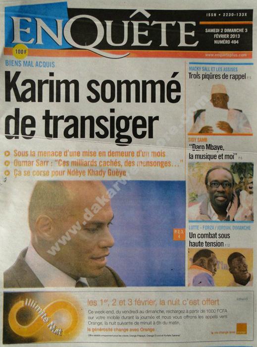 A la Une du Journal EnQuête du Samedi 02 février 2013