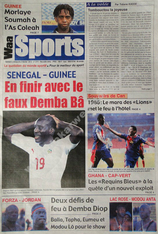 A la Une du Journal Waa Sports du Samedi 02 février 2013