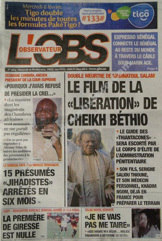 A la Une du Journal L'Observateur du mercredi 06 janvier 2013