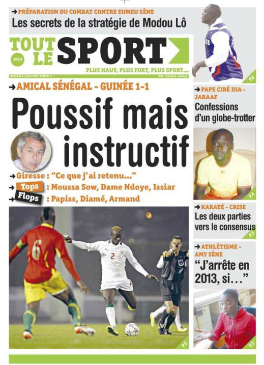 A la Une du Journal Tout Le Sport du mercredi 06 janvier 2013